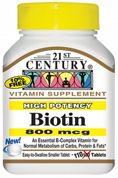 21st Century High Potency Biotin 800mcg (110таб) - фото 6401