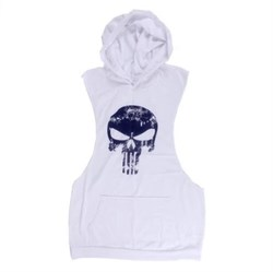 Punisher (Каратель) майка с капюшоном (белый) - фото 8170