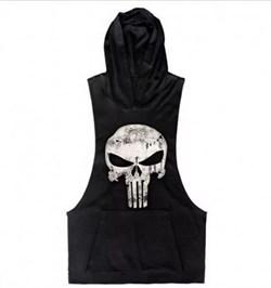 Punisher (Каратель) майка с капюшоном (черный) - фото 8171