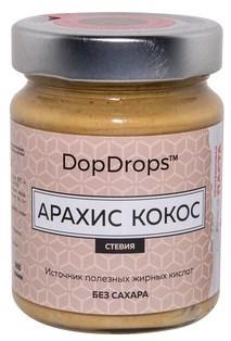 DopDrops Протеиновая паста Арахис Кокос стекло (стевия) (265гр) - фото 8604