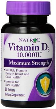 Natrol - Vitamin D3 10000 IU (60таб) - фото 8942