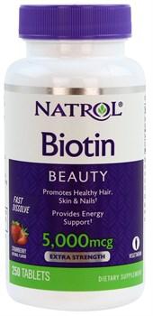 Natrol - Biotin 5000mcg Fast Dissolve (250таб) - фото 8967
