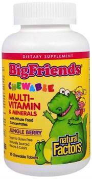 Natural Factors BigFriends Chewable multi-vitamin & minerals (60жев.таб) - фото 9724