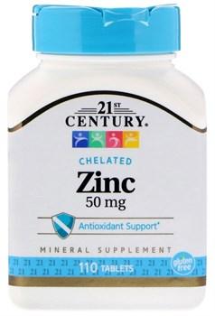 21st Century Chelated Zinc 50mg (110таб) - фото 9729