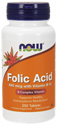 NOW Folic Acid 800mcg with Vitamin B-12 (250таб)