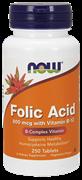 NOW Folic Acid 800mcg with Vitamin B-12 (250таб)