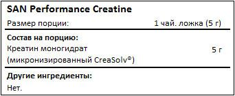Состав SAN Performance Creatine